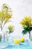Mimosa in vaso di vetro sulla fine della tavola su Fotografia Stock Libera da Diritti