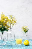 Mimosa in vaso di vetro sulla fine della tavola su Immagini Stock Libere da Diritti