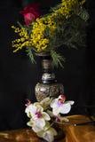 Mimose und indischer Vase Stockbilder