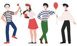 Mimowie i kobiety pantomimy wektoru ilustracja obsługują ilustracja wektor