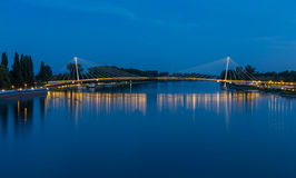 Mimram footbridge over the Rhine, between France and Germany Stock Photos