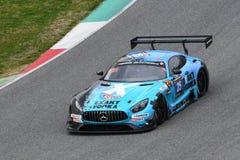 12 minérios Hankook Mugello 18 de março de 2017: Motorsport de #25 HTP, Mercedes AMG GT3 Imagem de Stock