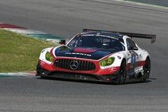 12 minérios Hankook Mugello 18 de março de 2017: #1 quecompete, Mercedes AMG GT3 Imagens de Stock