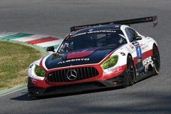 12 minérios Hankook Mugello 18 de março de 2017: #1 quecompete, Mercedes AMG GT3 Fotografia de Stock