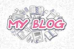 Min blogg - magentafärgad text för klotter äganderätt för home tangent för affärsidé som guld- ner skyen till Royaltyfri Foto