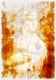 Min egen reproduktion av målningdamen med en hermelin av Leonardo da Vinci Grafisk effekt royaltyfria bilder