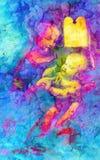 Min egen reproduktion av original- måla Madona Benois - Madona och barnet med blommor med grafisk effekt knastra stock illustrationer
