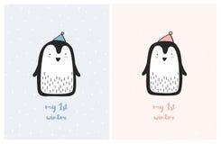 Min för barnkammarevektor för första vinter gulliga uppsättning för illustration Söta små pingvin stock illustrationer