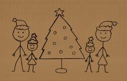 Min familj på jul Arkivfoton