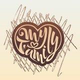 Min familjillustration av bokstäver för vykort för vapensköld för emblemlogofamilj vektor illustrationer