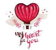 Min hjärta för dig typografi för valentindag med rött flyg för hjärtaformballong och hjärtagarneringar i vit bakgrund royaltyfri illustrationer