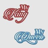 Min konung, mina skjortor för drottningpar t planlägger stock illustrationer