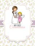 min nattvardsgång först Flicka och ängel royaltyfri illustrationer