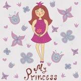 Min prinsessa Gulligt romantiskt duschkort Arkivbild