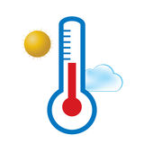 min prognosgallerisymboler ser var god liknande till visitväder Utomhus- termometer, sol, moln Arkivfoto