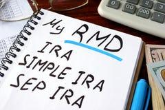 Min RMD krävde minimum fördelningor som var skriftliga i en anteckningsbok Arkivfoto