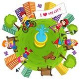 Min stadsjord och miljö stock illustrationer