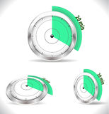 20 min timers, fifteen minutes alarm. Vector eps10 Royalty Free Stock Photography