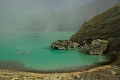 Mina amarilla del sulfuro con el lago azul dentro del volcán, imagen de archivo libre de regalías