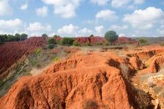 Mina da bauxite com terra vermelha Foto de Stock Royalty Free