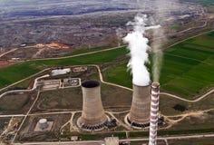 Mina da central energética & de carvão, aérea Fotografia de Stock Royalty Free