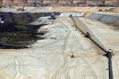 Mina de carvão do poço aberto com máquinas escavadoras e setor mineiro Kostolac da maquinaria imagem de stock royalty free