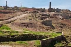 Mina de estaño vieja cerca de St. Juste, Cornualles, Reino Unido Fotos de archivo libres de regalías