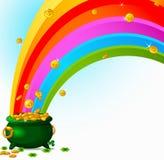 Mina de oro y arco iris Foto de archivo libre de regalías