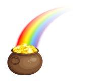 Mina de oro y arco iris del ` s del duende Vector EPS-10 Imágenes de archivo libres de regalías