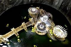 Mina de sal turística de Turda en Rumania, visión interior desde arriba imágenes de archivo libres de regalías