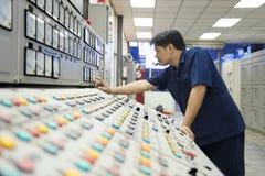 Mina del cinc Ingeniero en sala de mando Imágenes de archivo libres de regalías