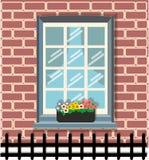 Mina fönster och blommor Royaltyfria Bilder