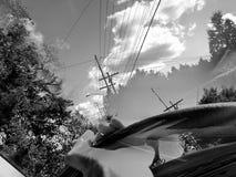 Mina händer på styrhjulet fotografering för bildbyråer