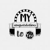 Mina lyckönskan till dig Banret emblem, för en blogg eller samkvämnätverk, kan användas som ett tryck stock illustrationer