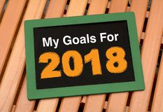 Mina mål för 2018 planera svart tavlabegrepp Royaltyfri Fotografi