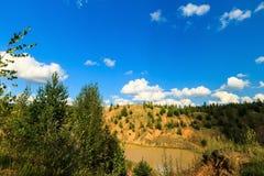 Mina o lago o charca con la playa arenosa, agua sucia marrón, árbol Fotografía de archivo