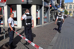 Minaccia della bomba a Lille, Francia Fotografie Stock