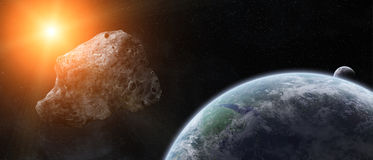 Minaccia delle asteroidi sopra pianeta Terra illustrazione di stock