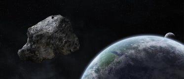Minaccia delle asteroidi sopra pianeta Terra Fotografia Stock Libera da Diritti