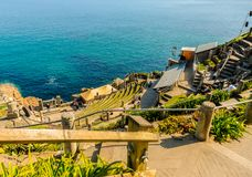 The Minack Theatre on the edge of the cliffs stock photo