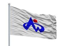Minamishimabara-Stadt-Flagge auf Fahnenmast, Japan, Präfektur Nagasaki, lokalisiert auf weißem Hintergrund stock abbildung