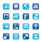 Minando e iconos de la industria de extracción Imágenes de archivo libres de regalías