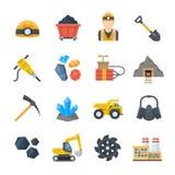 Minando y extrayendo iconos del vector en estilo plano Imagen de archivo libre de regalías