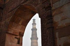 Minar Qutab een langste mugal afgunst Stock Afbeelding