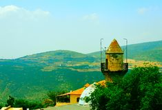 Minaret. Arab Mosque in Kabbalah City of Safed in the Mountains of Galilee Stock Photos