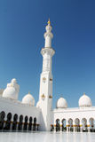 A minaret of the Abu Dhabi Mosque. A beautirful minaret of the Abu Dhabi Mosque Stock Photo