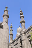 Minaret of al Rifai mosque against a bright blue sky,Cairo, Egyp Royalty Free Stock Photos