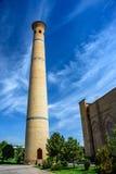 Minaret als deel van Hazrat-Imam Ensemble in het centrum van de stad van Tashkent Royalty-vrije Stock Foto