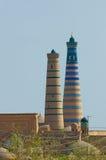 Minaret in ancient city of Khiva, Uzbekistan royalty free stock photo