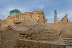 Minaret in ancient city of Khiva, Uzbekistan Stock Image